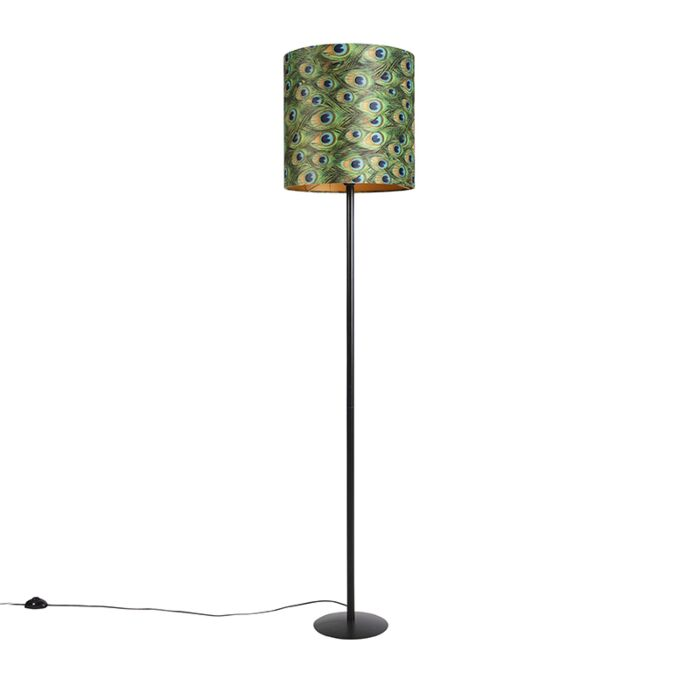 Zwarte-vloerlamp-met-velours-kap-pauw-goud-40-cm---Simplo