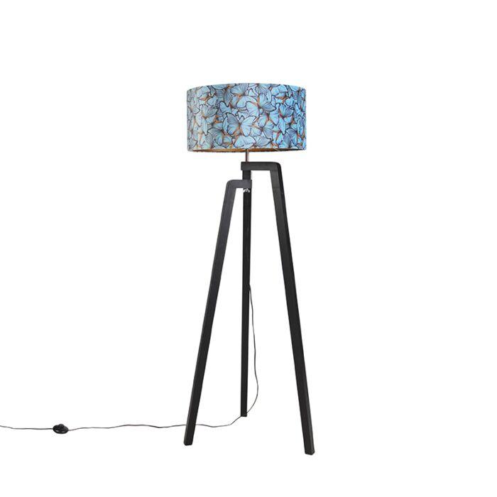 Vloerlamp-tripod-zwart-met-kap-vlinder-dessin-50-cm---Puros