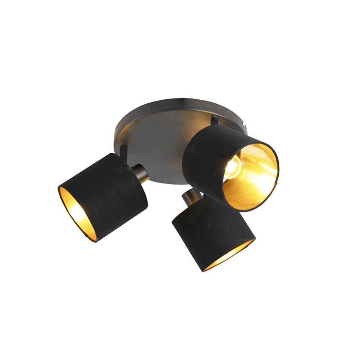 Moderne-plafondlamp-3-lichts-zwart-met-gouden-binnenkant---Tomas