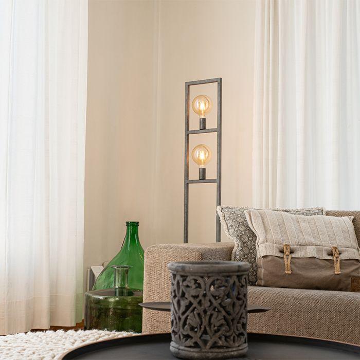 Moderne-vloerlamp-antiek-zilver-2-lichts---Simple-Cage-2