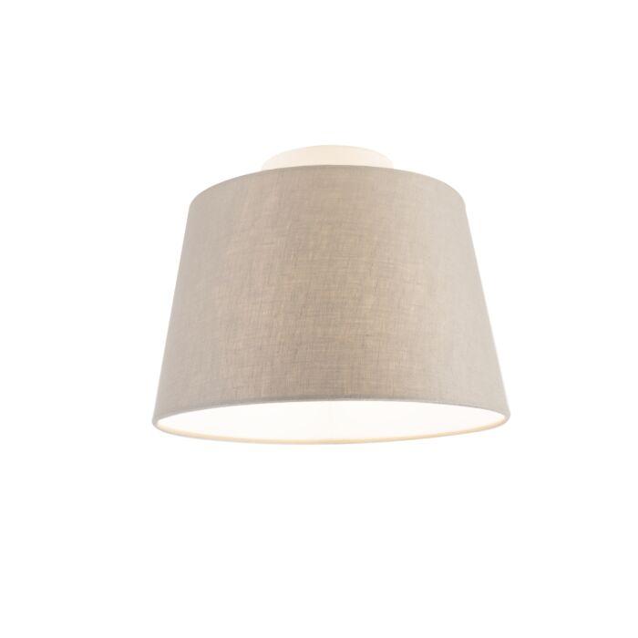 Plafondlamp-met-linnen-kap-taupe-25-cm---Combi-wit