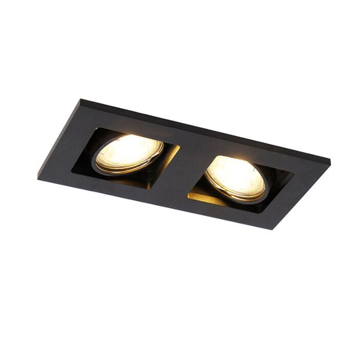 Rechthoekige-inbouwspot-2--lichts-zwart---Qure