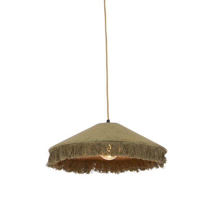 Retro-hanglamp-groen-velours-met-franjes---Frills