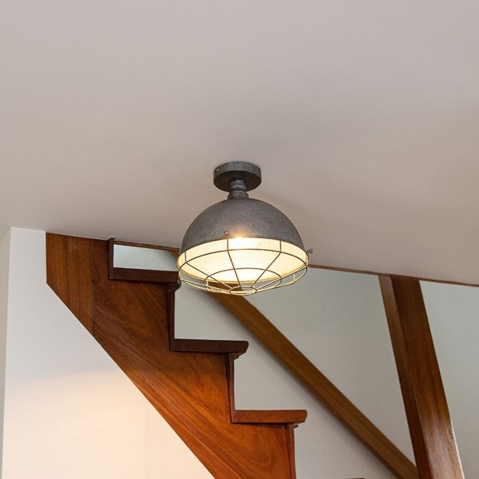 Industriële-plafondlamp-antiek-zilver-32-cm---Course