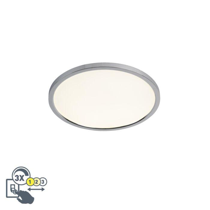 Moderne-ronde-plafondlamp-chroom-45-cm-incl.-LED-IP44---Flat