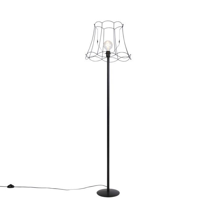 Zwarte-vloerlamp-met-Granny-Frame-kap-zwart-45-cm---Simplo