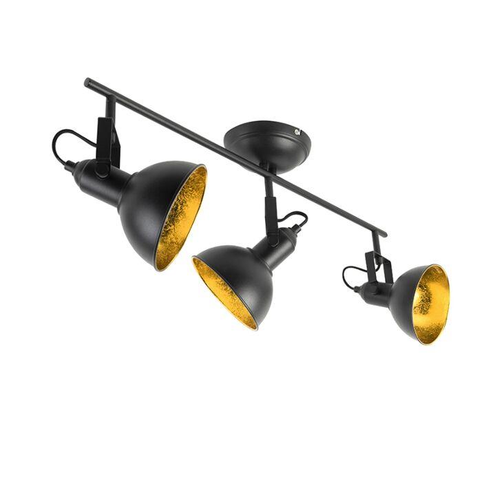 Industriële-spot-zwart-met-goud-3-lichts---Tommy