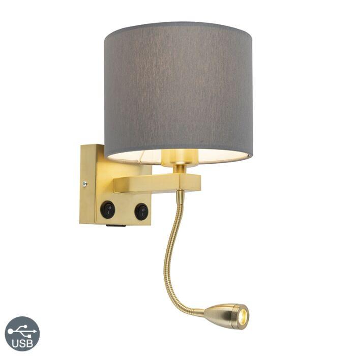 Art-deco-wandlamp-goud-met-USB-en-grijze-kap---Brescia