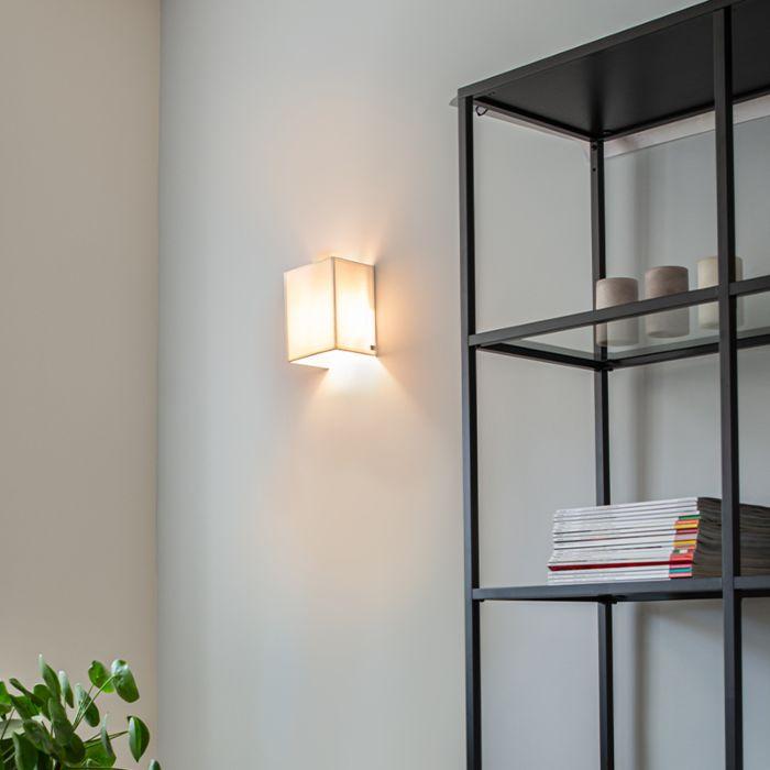Moderne-wandlamp-jute-wit---Vete
