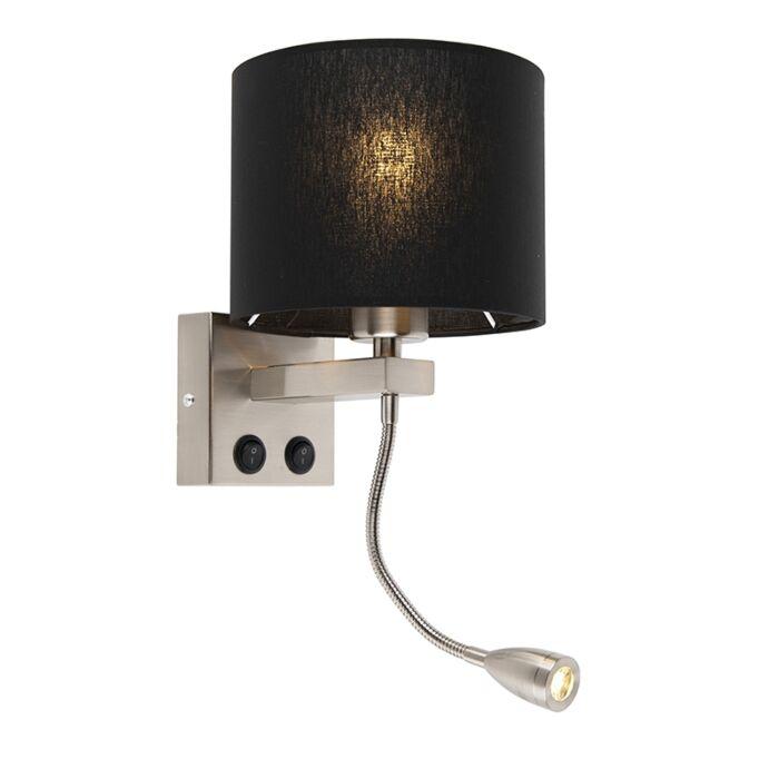 Moderne-wandlamp-staal-met-zwarte-kap---Brescia