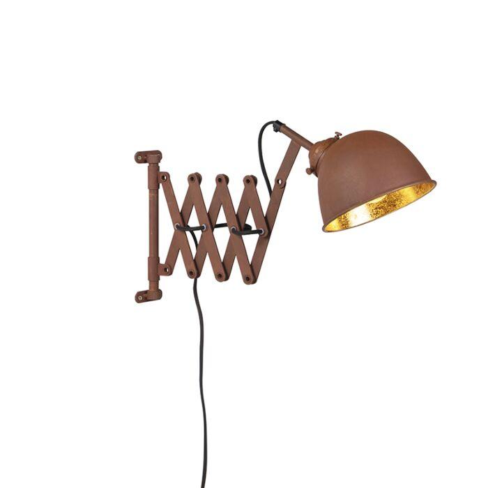 Industriële-wandlamp-bruin-met-goud-verstelbaar---Scissors