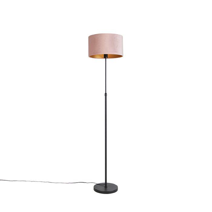 Vloerlamp-zwart-met-velours-kap-roze-met-goud-35-cm---Parte