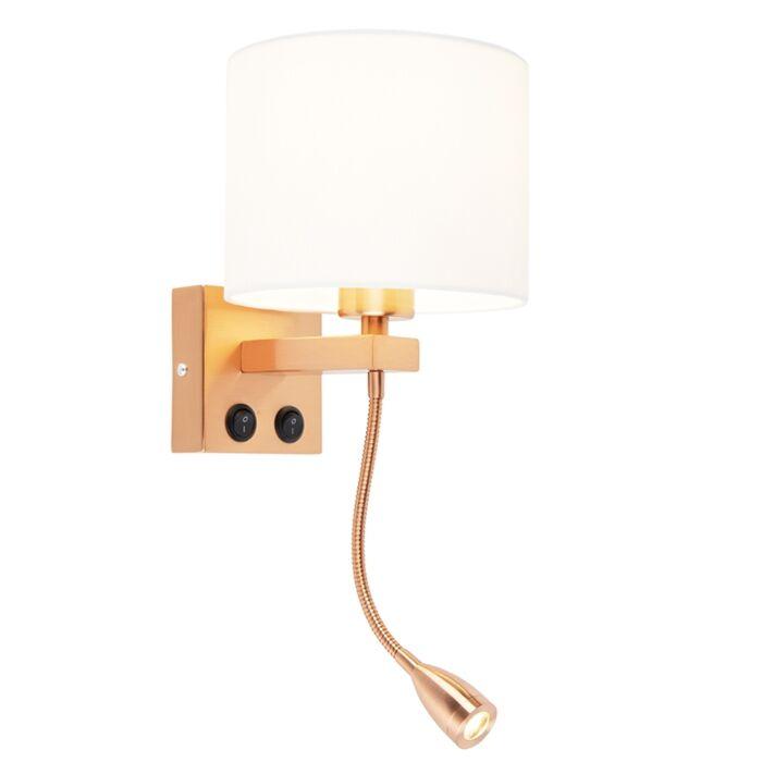 Art-deco-wandlamp-koper-met-witte-kap---Brescia