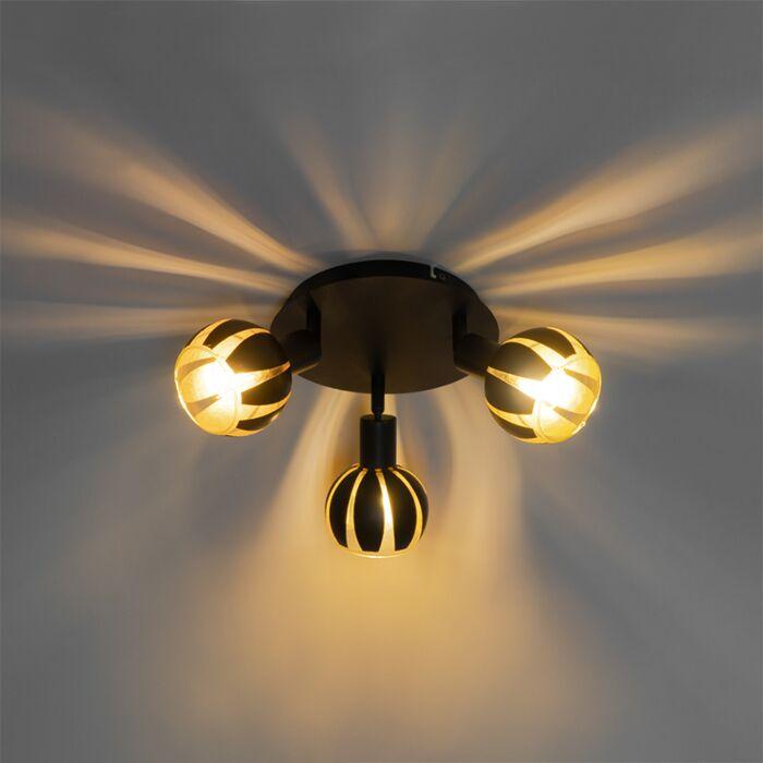 Design-spot-zwart-met-goud-3-lichts---Melone