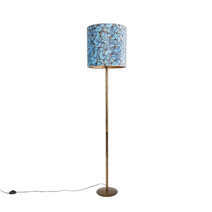Botanische-vloerlamp-goud-met-vlinderdessin-kap-40-cm---Simplo