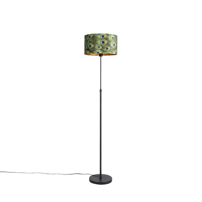 Zwarte-vloerlamp-met-velours-kap-pauw-met-goud-35-cm---Parte