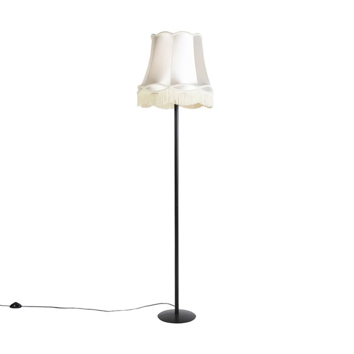 Retro-vloerlamp-zwart-met-Granny-kap-crème-45-cm---Simplo
