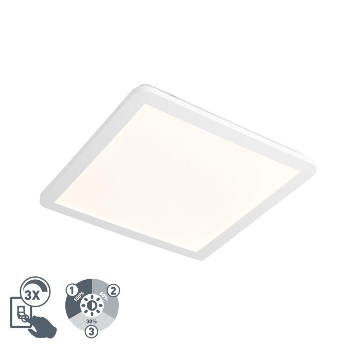 Vierkante-plafondlamp-wit-40-cm-incl.-LED-IP44---Camilla