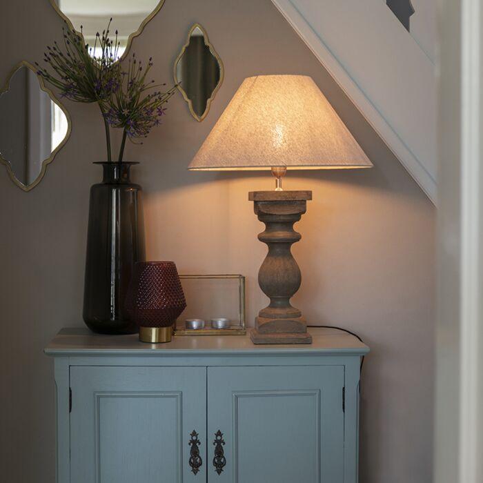Landelijke-tafellamp-met-linnen-kap-beige-50-cm---Hyssop