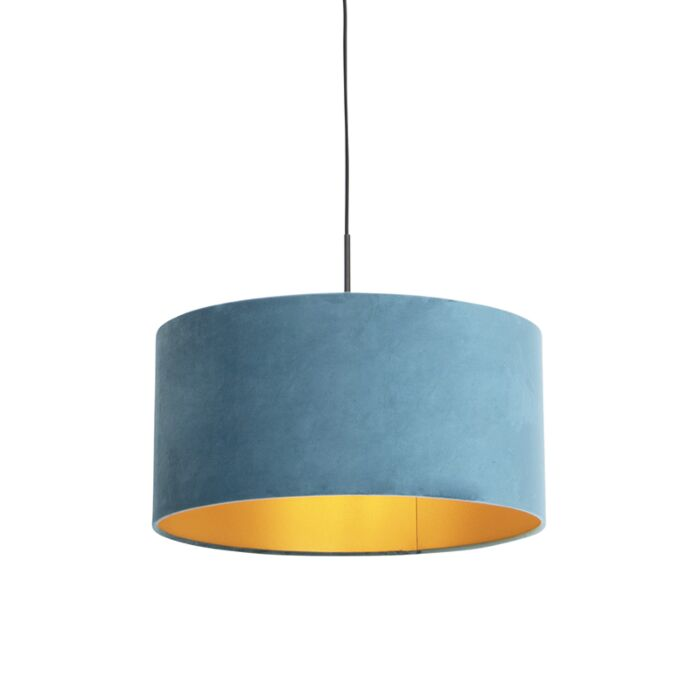 Hanglamp-met-velours-kap-blauw-met-goud-50-cm---Combi