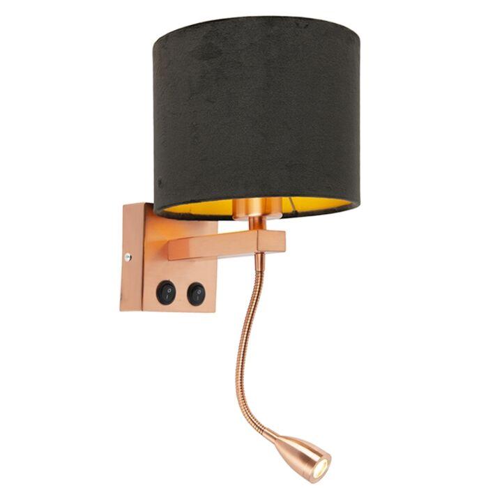 Moderne-wandlamp-koper-met-kap-velours-zwart---Brescia