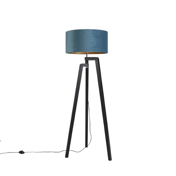 Vloerlamp-tripod-zwart-met-blauwe-kap-en-goud-50-cm---Puros