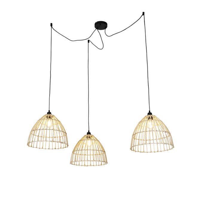 Landelijke-hanglamp-met-3-rotan-kappen---Cava