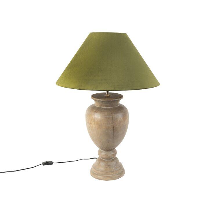 Landelijke-tafellamp-met-velours-kap-mosgroen-55-cm---Clover