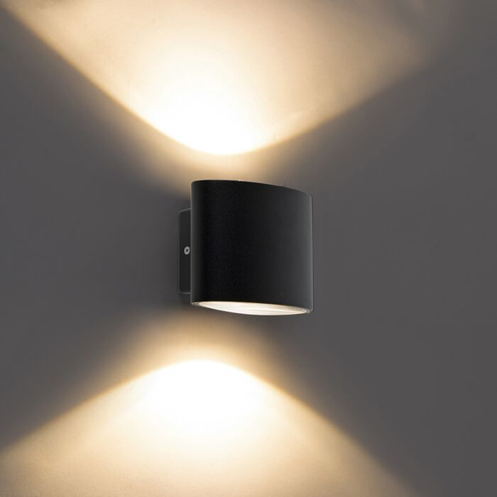 Moderne-buitenwandlamp-zwart-incl.-LED-IP44---Ovum