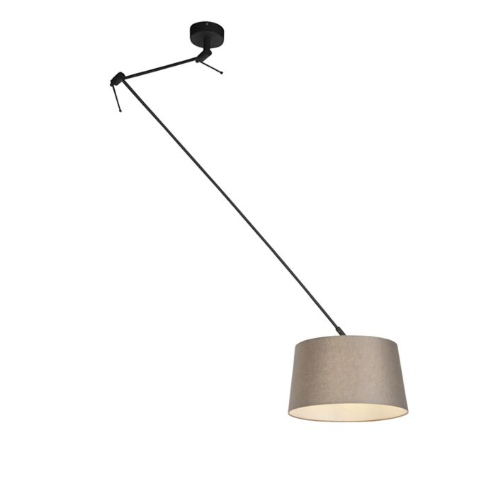 Hanglamp-met-linnen-kap-taupe-35-cm---Blitz-I-zwart