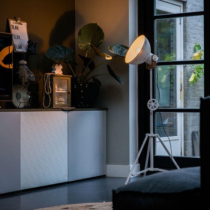Industriële-vloerlamp-tripod-wit---Mangoes