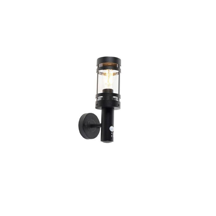 Buitenwandlamp-zwart-met-bewegingssensor-IP44---Gleam