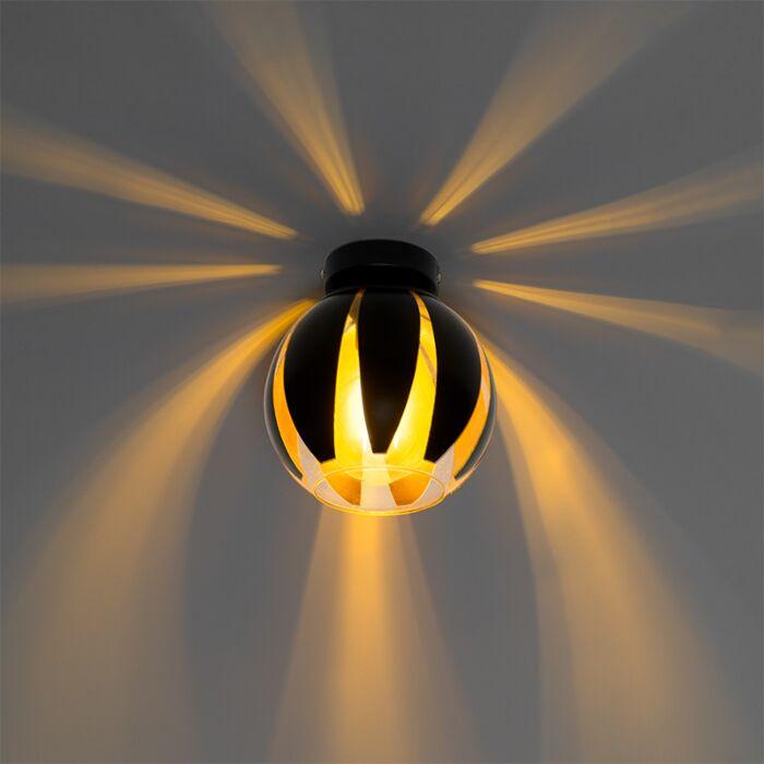 Design-plafondlamp-zwart-met-goud---Melone