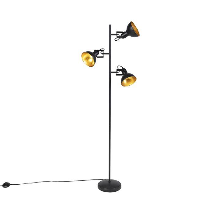 Industriële-vloerlamp-zwart-met-goud-3-lichts---Tommy