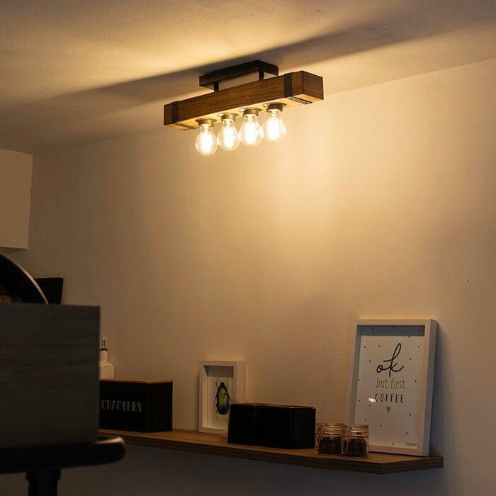Industriële-plafondlamp-hout-met-staal-4-lichts---Reena