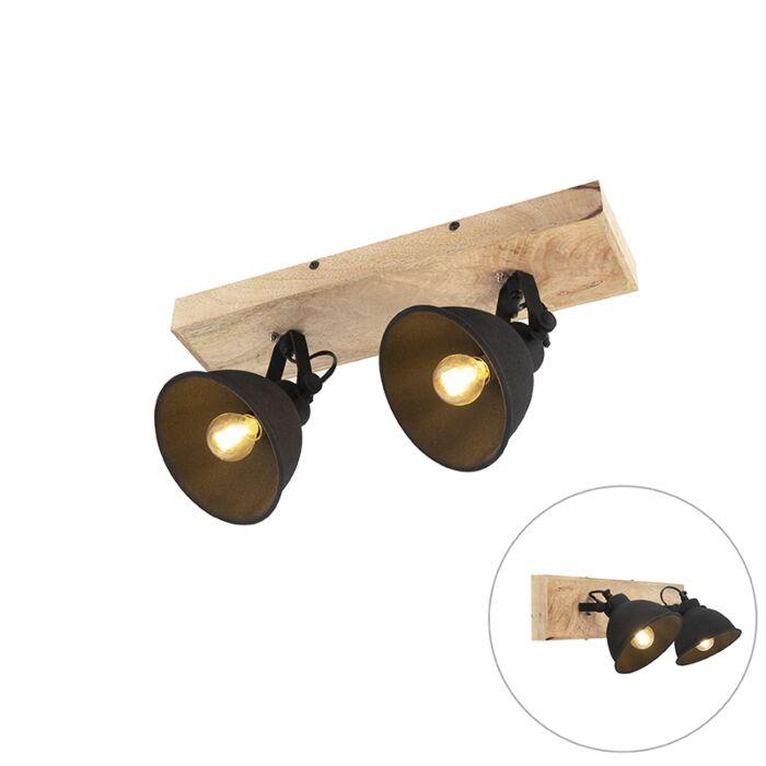Stoere-spot-zwart-met-hout-2-lichts---Fors