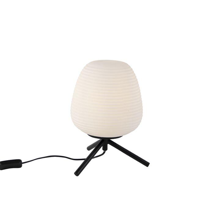 Design-tafellamp-zwart-20-cm-met-opaal-glas---Hero