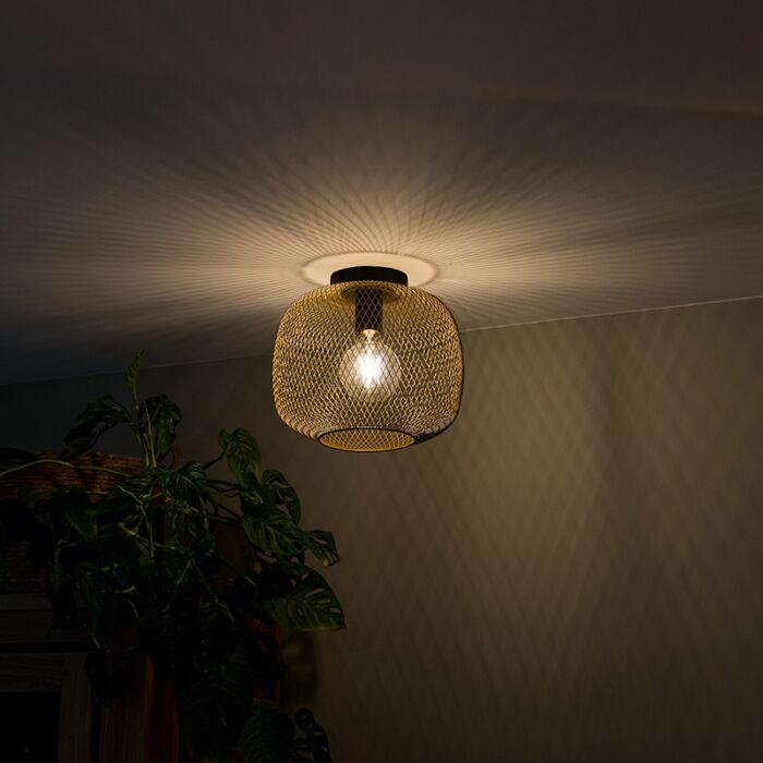 Moderne-zwart-met-gouden-plafondlamp---Bliss-Mesh