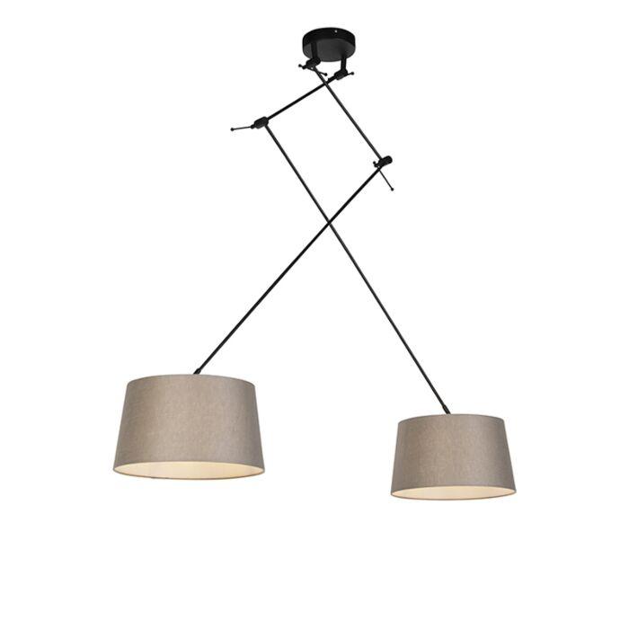 Hanglamp-met-linnen-kappen-taupe-35-cm---Blitz-II-zwart
