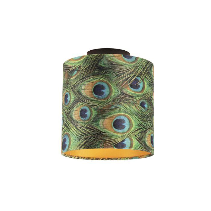 Plafondlamp-met-velours-kap-pauw-met-goud-20-cm---Combi-zwart