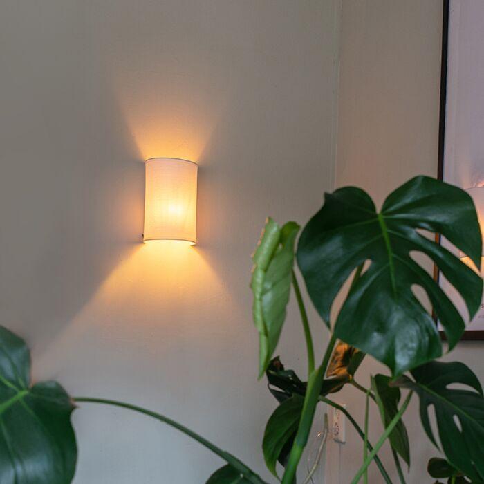 Moderne-wandlamp-wit---Simple-Drum-Jute