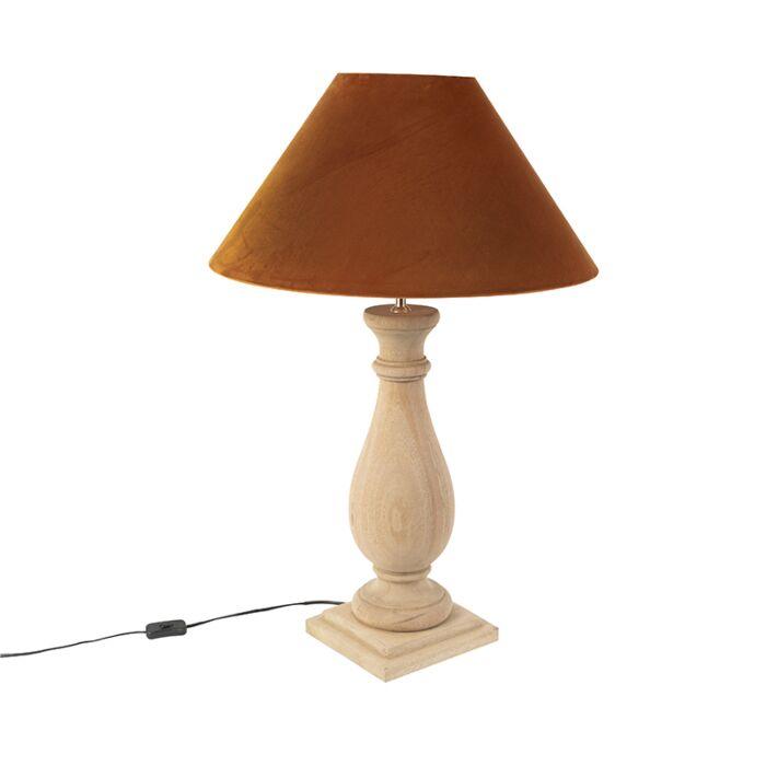 Landelijke-tafellamp-met-oranje-kap-velours---Burdock