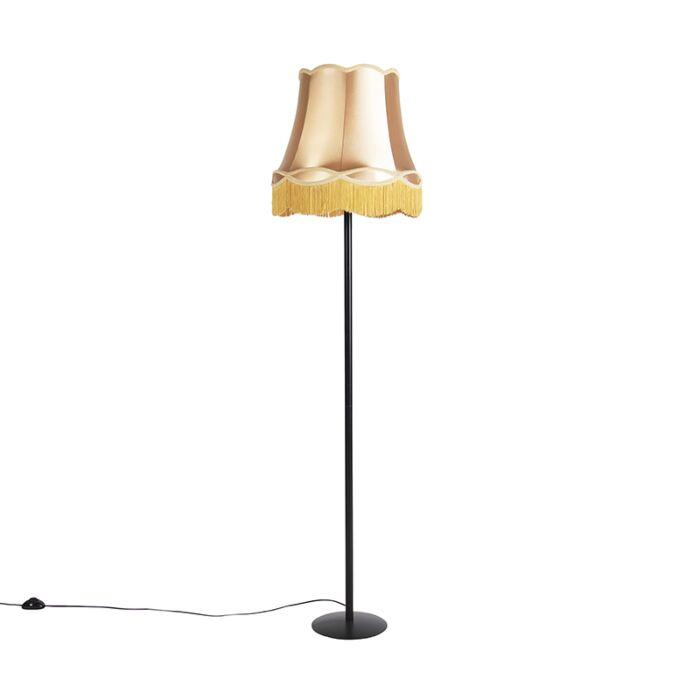 Retro-vloerlamp-zwart-met-Granny-kap-goud-45-cm---Simplo