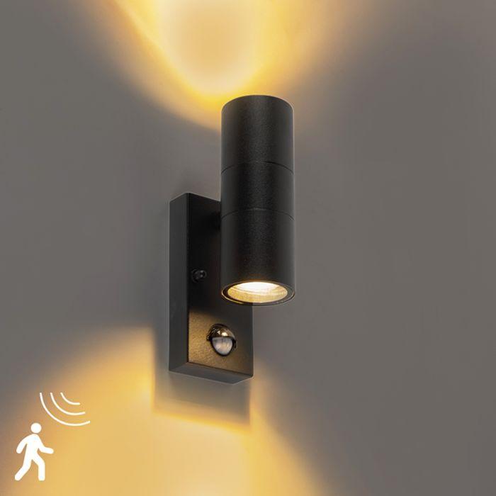Buitenwandlamp-zwart-met-bewegingssensor-IP44---Duo