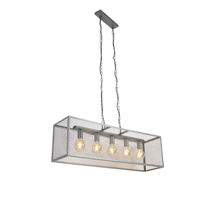 Industriële-hanglamp-antiek-zilver-5-lichts---Cage-Robusto