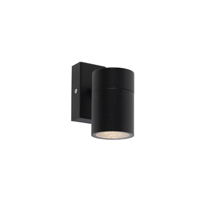 Buitenwandlamp-zwart-RVS-IP44---Solo