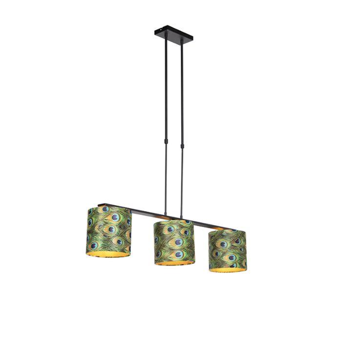 Hanglamp-met-velours-kappen-pauw-met-goud-20cm---Combi-3-Deluxe