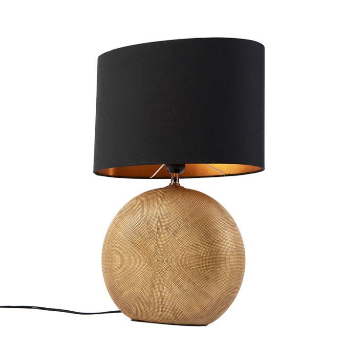 Tafellamp-brons-met-zwarte-kap-34-cm---Cleo