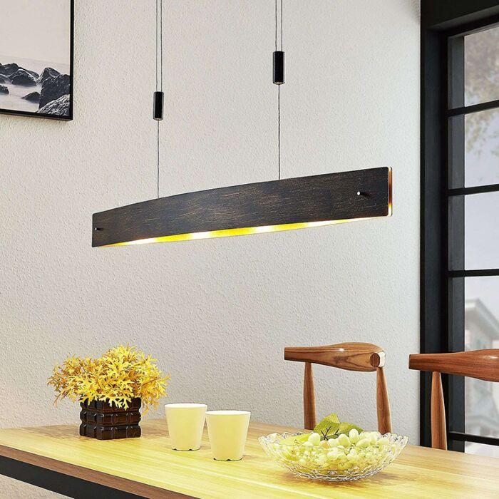 Moderne-ovale-hanglamp-zwart-met-goud-incl.-LED-en-dimmer---Lio