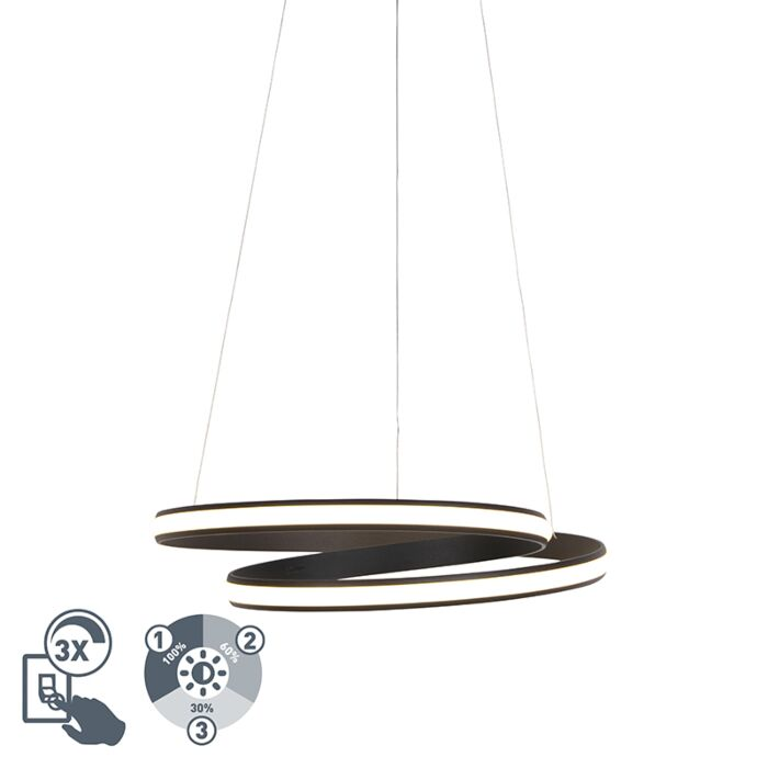 Design-hanglamp-zwart-55-cm-incl.-LED-3-staps-dimbaar---Rowan